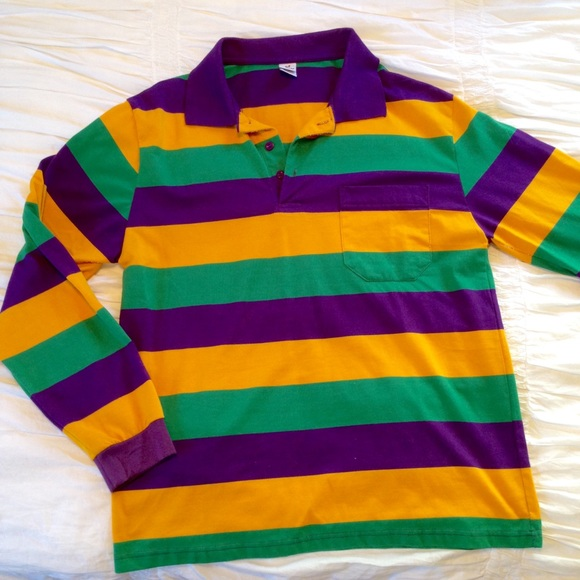 Mardi gras rugby shirt l from stephanie 39 s closet on poshmark for Lacoste mardi gras rugby shirt