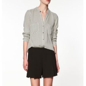 Zara Tops - Zara White & Black Polka Dot Blouse