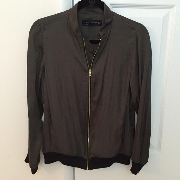 75% off Zara Jackets & Blazers - 🎀SALE🎀 Zara Satin Bomber Jacket ...