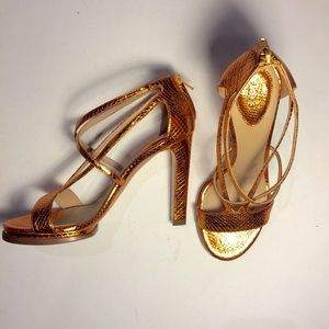 Chloe copper color python platform heeled sandal