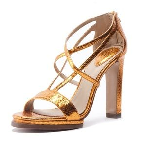 Chloe Shoes - Chloe copper color python platform heeled sandal