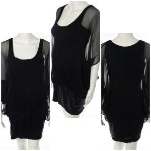 Analili Dresses & Skirts - 💥PRICE DROP💥Sheer Cap Sleeve Sequin Bottom Dress
