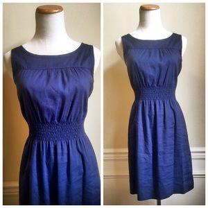 Theory Linen Smocked Waist Dress