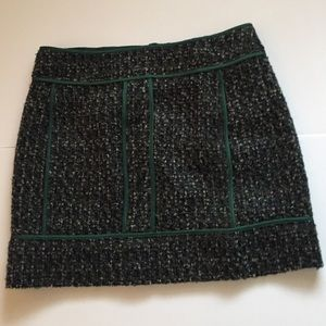 J.Crew Wool Skirt with Green Detail Size 6