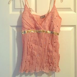 Rave Tops - Sheer Blush Silver Sequin Top