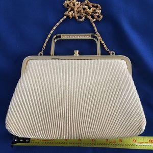 Vintage evening bag, crystal details, chain strap