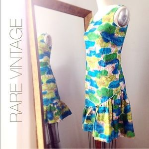 Vintage abstract print tank peplum hem Dress