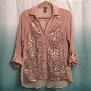 Vanity, size S, sheer sequin button down shirt