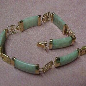 """Jewelry - Vintage 14k Jadeite Link Bracelet 7.5"""" Paypal"""