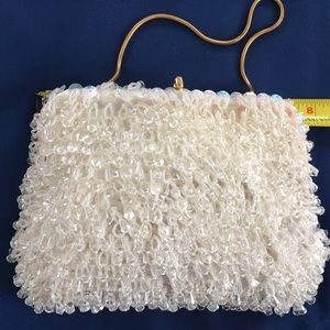 Vintage crystal beaded evening bag. White w/ chain