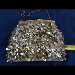 Vintage sequin beaded bag w/ chain strap
