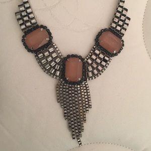 Taupe gemstone statement necklace