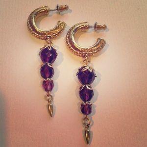 Vintage Jewelry - Vintage Amethyst Gold Earrings
