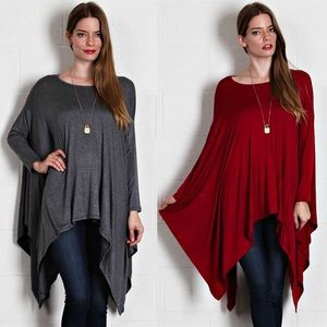 Asymmetric Hem Long Sleeve Top