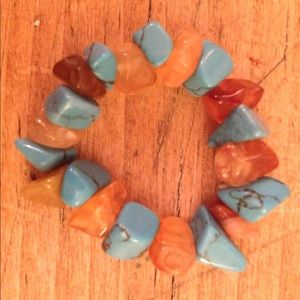 Carnelian and Turquoise Chip Ring