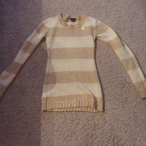 Gold and White Striped Sweater