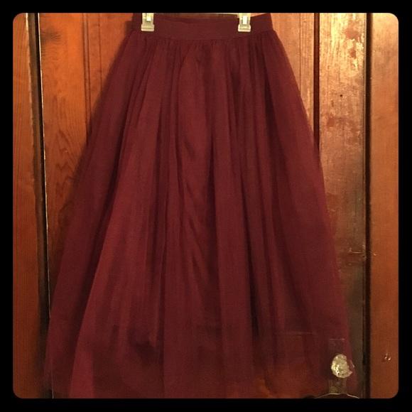 e0cfb48068f200 Boohoo Skirts | Reserved For Trade Maroon Tulle Midi Skirt | Poshmark