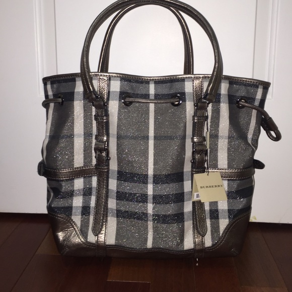 aa85f170be85 Authentic Burberry Shimmer Check Drawstring Tote