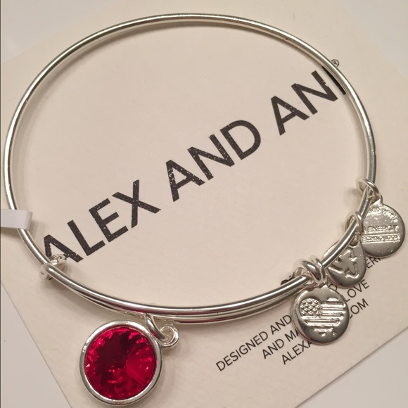 249ac5ce9a Alex and Ani Jewelry - Alex and Ani Silver Ruby July Birthstone Bracelet