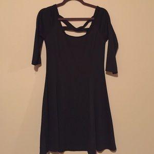 Black 3/4 sleeve baby doll dress