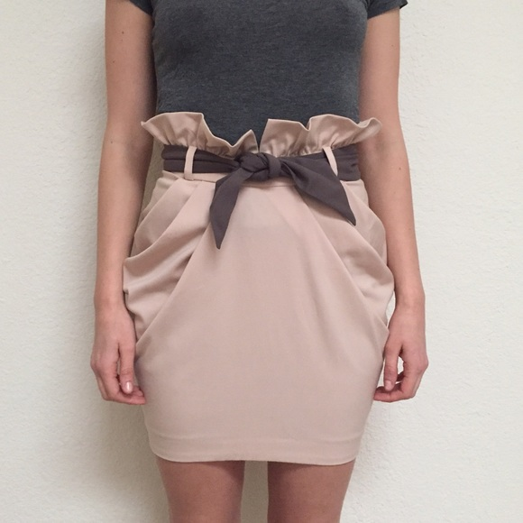 Tulip cowl skirt with a belt