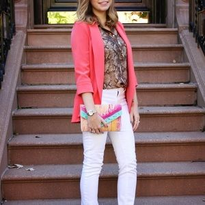 muse Jackets & Blazers - muse coral open front blazer - size 2