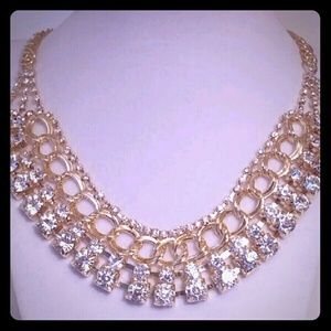 Gorgeous Bling Statement crystal bib necklace