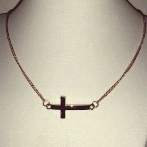 Trendy Gold cross simple  necklace