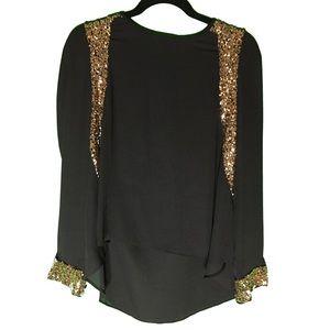 Black Tops - Gold Sequin Top