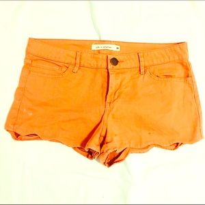 F21 Salmon Scalloped Denim Shorts