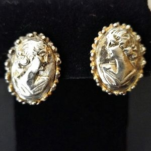 VINTAGE Silver Tone Metal Repousse Cameo Earrings