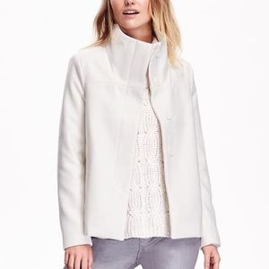Old Navy Outerwear - Old Navy White Funnel Neck Coat