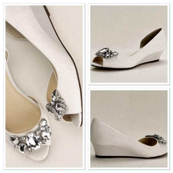2894456b9 Touch of Nina Shoes | Crystal Peep Toe Wedge | Poshmark