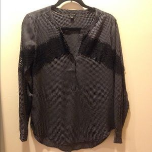 Ann Taylor Polka Dot Lace Trim Blouse Small