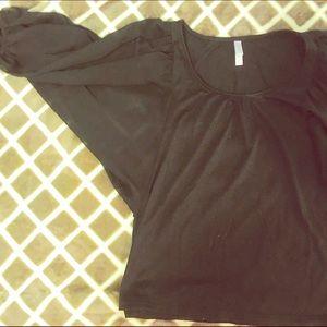 XHILIRATION Black Top w/ Sheer Cutout Sleeves
