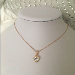 Charming rose gold Heart CZ necklace