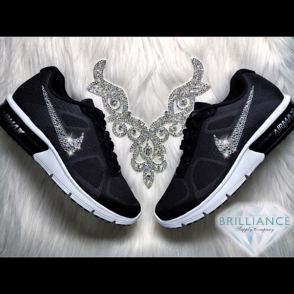 Swarovski Nike Air Max Sequent Black Running Shoes 16232bb17