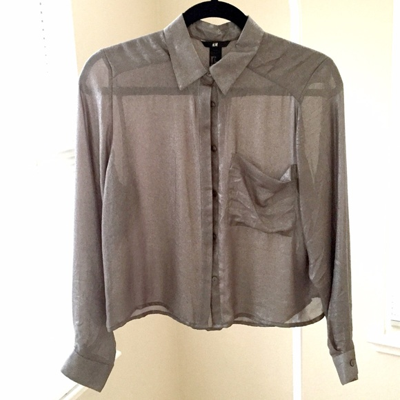 H&M Tops - NEW H&M silver-gunmetal sheer button down shirt