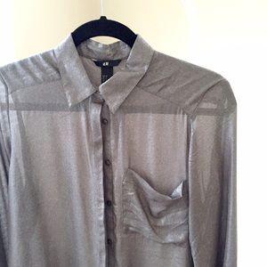 H&M Tops - NEW H&M silver-gunmetal sheer button down shirt