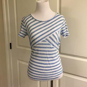 Adorable baby blue striped j crew linen t-shirt