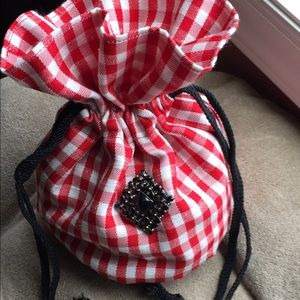 Handbags - NWT Hand made check drawstring bag with pockets.