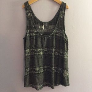 Gray and silver lace tank