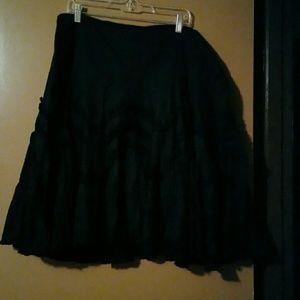 Plus size Knee length black flared skirt