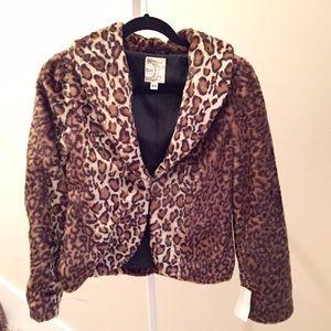 NEW faux fur leopard luxe blazer