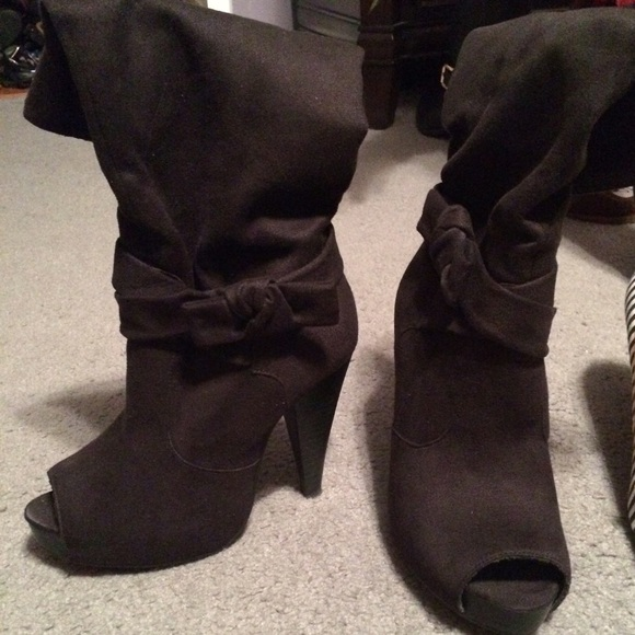 58 diba shoes peep toe black suede boots from tina