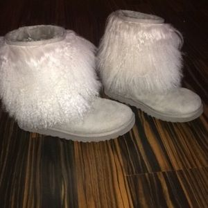 UGG Shoes   Grey And White Furry Uggs