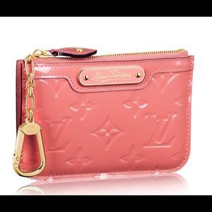 ISO LOUIS VUITTON AUTHENTIC KEY POUCH ROSE LITCHI