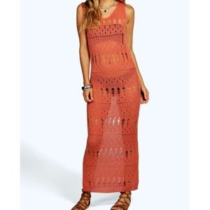 Beach crochet knit cover up bodycon dress NWT