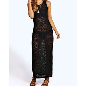 Crochet knit beach cover bodycon dress - NWT S/M