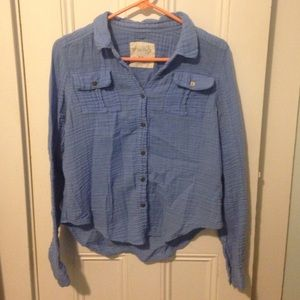 Blue Free People button-up